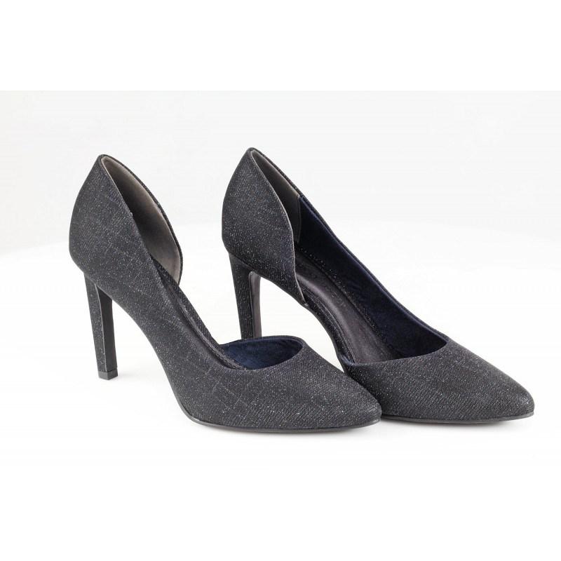 Дамски елегантни обувки на висок ток Marco Tozzi черно/син металик