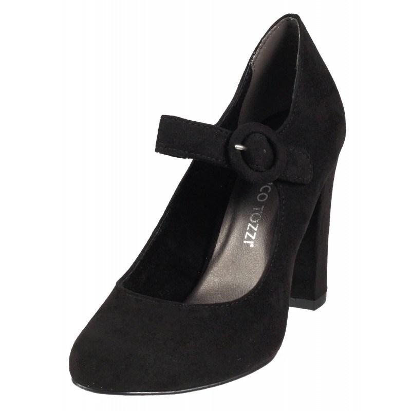 Дамски елегантни обувки на висок ток Marco Tozzi мемори пяна черни