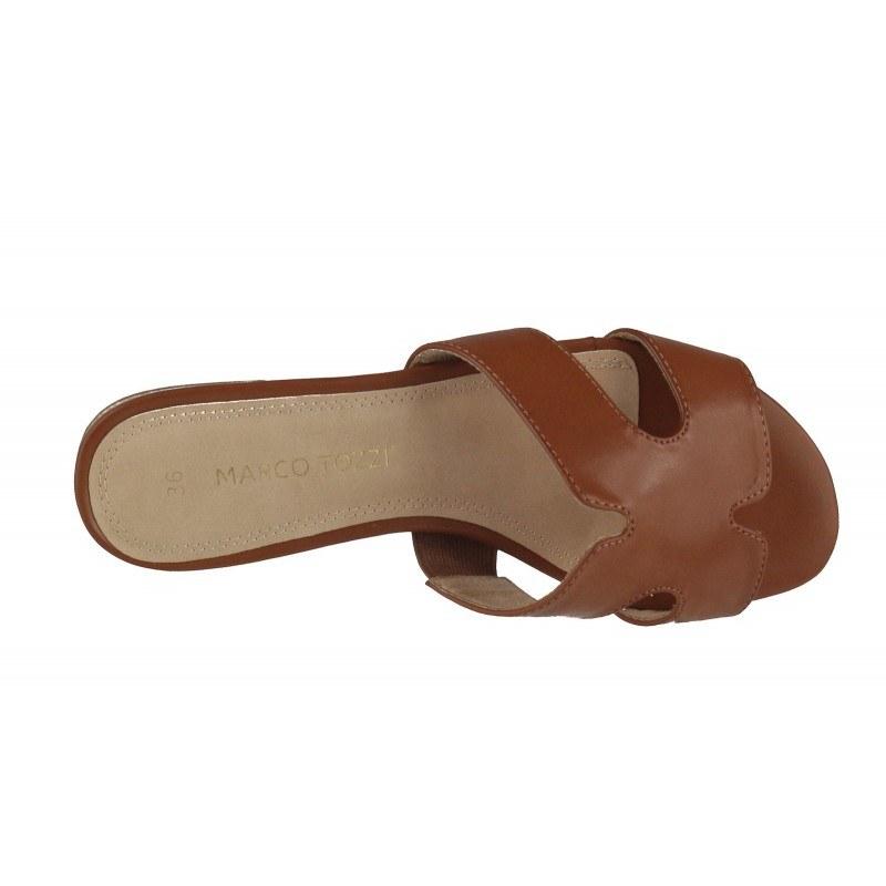 Дамски чехли на ток Marco Tozzi кафяви