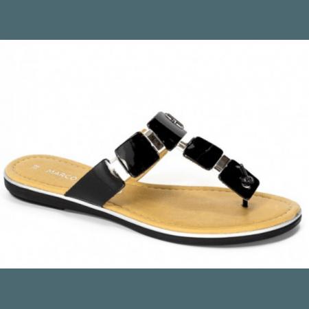Дамски чехли от естествена кожа Marco Tozzi черен лак