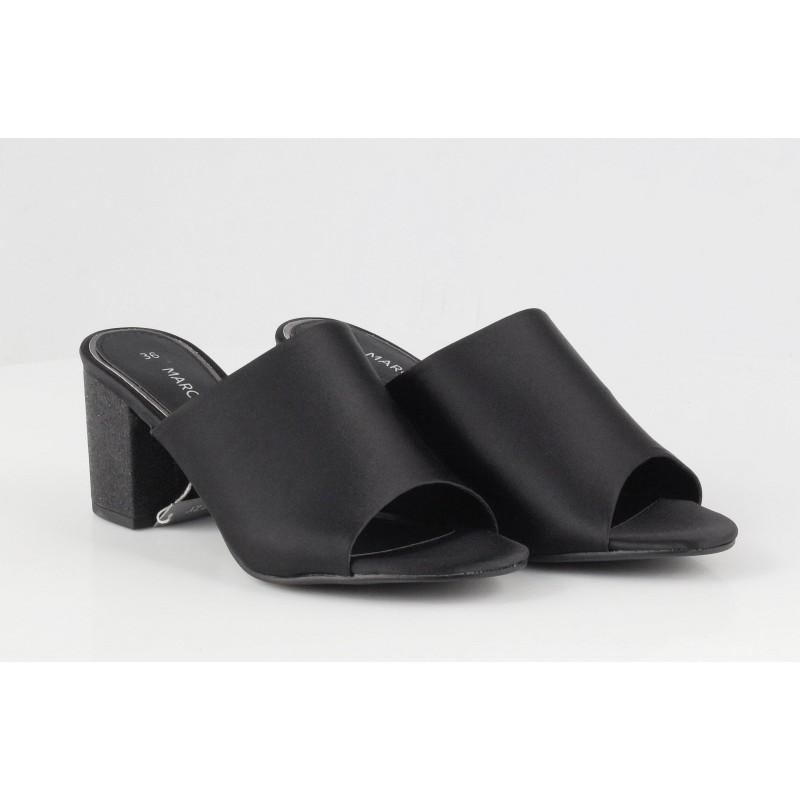 Дамски елегантни чехли на ток Marco Tozzi черни