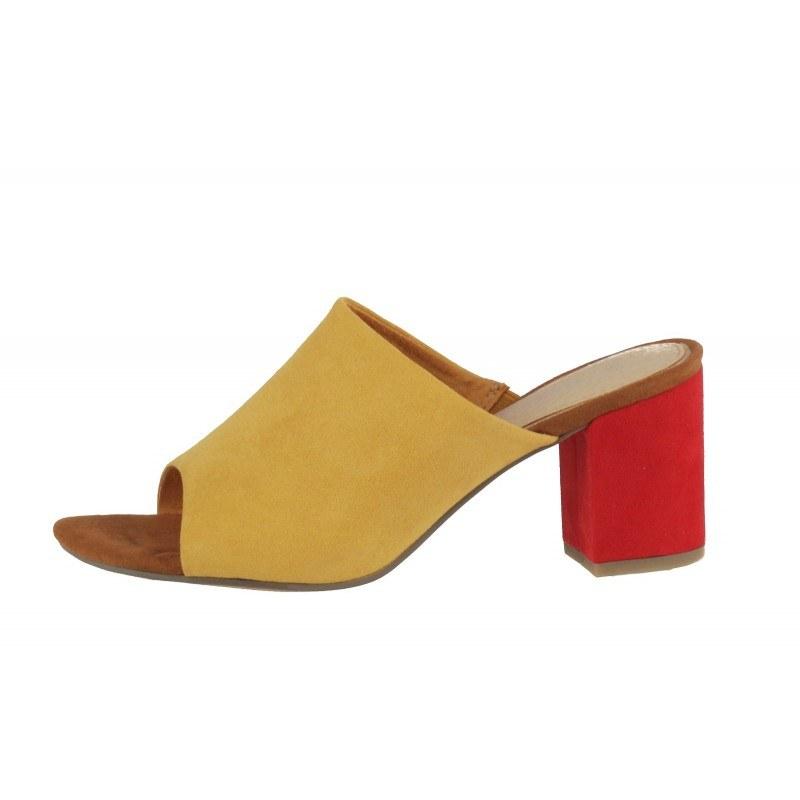 Дамски елегантни чехли на ток Marco Tozzi жълти