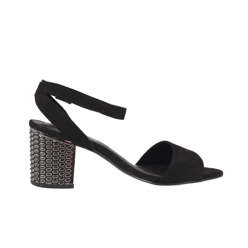 Дамски елегантни сандали на ток Marco Tozzi черни/сребристи