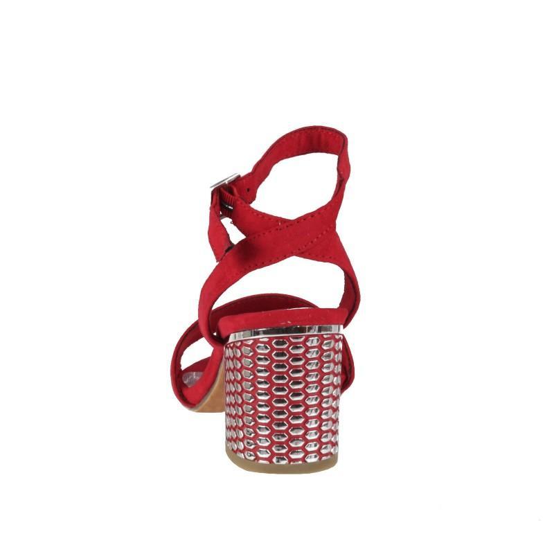 Дамски елегантни сандали на ток Marco Tozzi червени