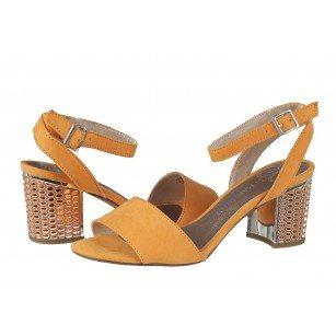 Дамски елегантни сандали на ток Marco Tozzi жълти