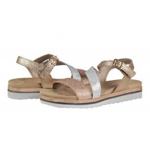 Дамски равни сандали Marco Tozzi розов металик