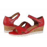 Дамски сандали на платформа Marco Tozzi естествена кожа червени