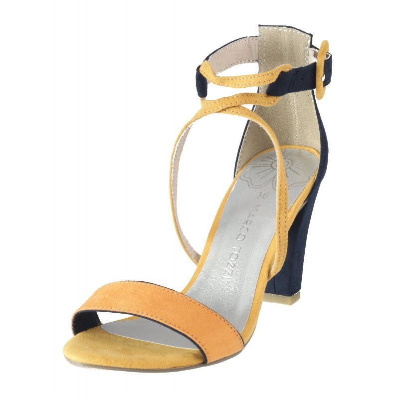 Дамски елегантни сандали на ток Marco Tozzi жълти/сини