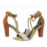 Дамски елегантни сандали на ток Marco Tozzi зелени/кафяви