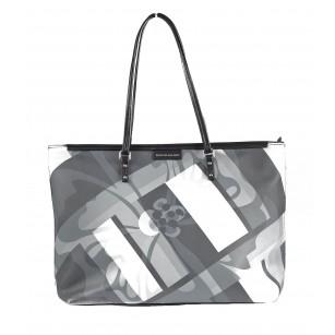 Дамска чанта принт Marina Galanti® Firenze светло черна/сива