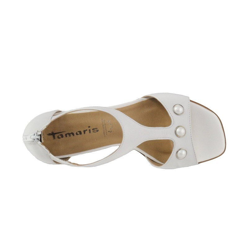 Дамски сандали от естествена кожа Tamaris бели Тouch it