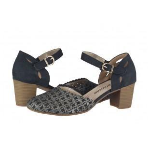 Дамски отворени обувки с ток Remonte сини