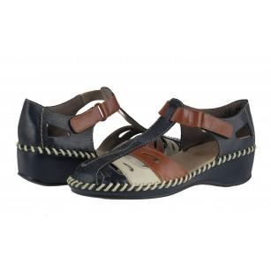 Дамски летни обувки естествена кожа Rieker сини/кафяви N1667-14