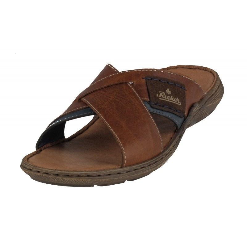 Мъжки анатомични чехли от естествена кожа Rieker 22099-25 кафяви
