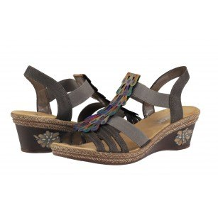 Дамски сандали на платформа Rieker V2426-45 тъмно кафяви