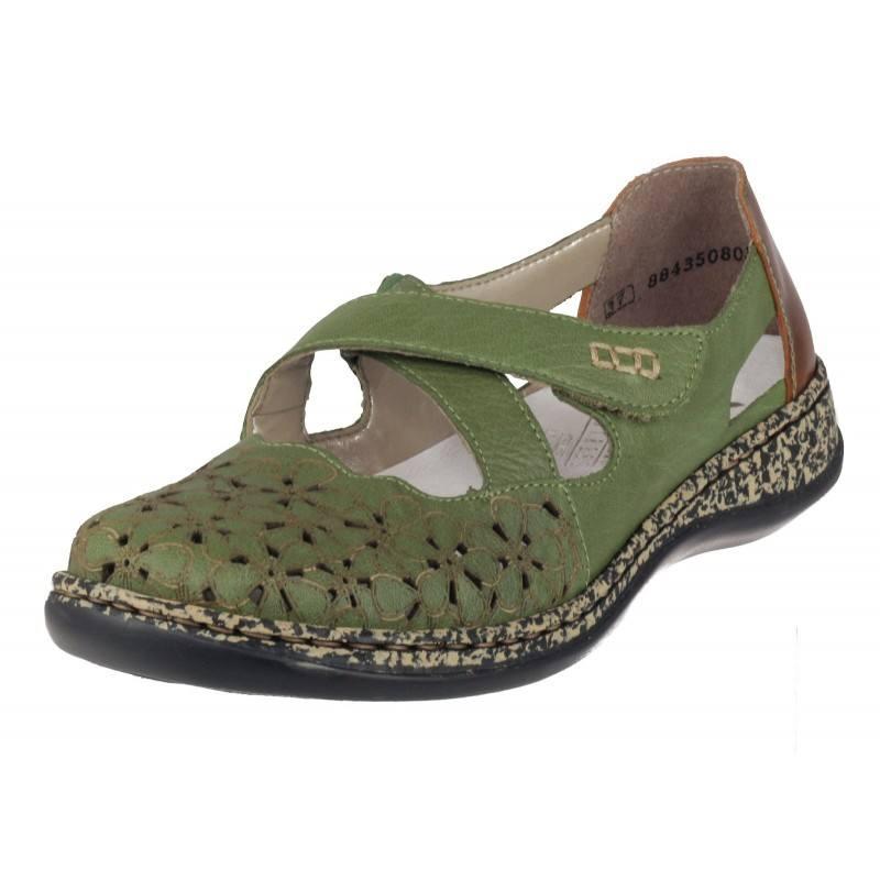 Дамски равни обувки естествена кожа Rieker ANTISTRESS зелени