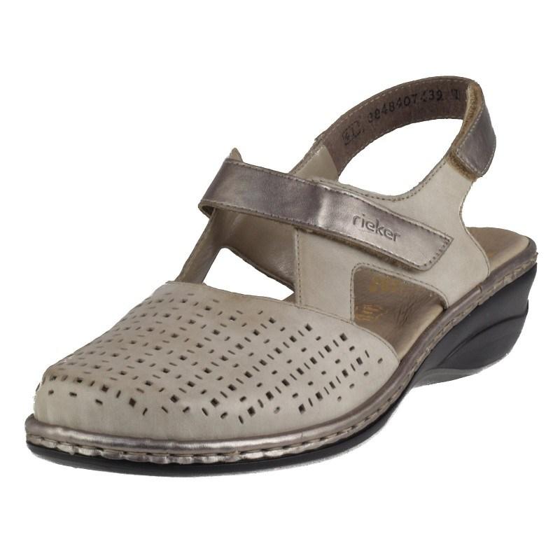 Дамски летни обувки естествена кожа Rieker бежови 47775-42