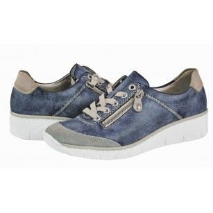 Дамски спортни обувки на платформа Rieker сини комби 53721-41
