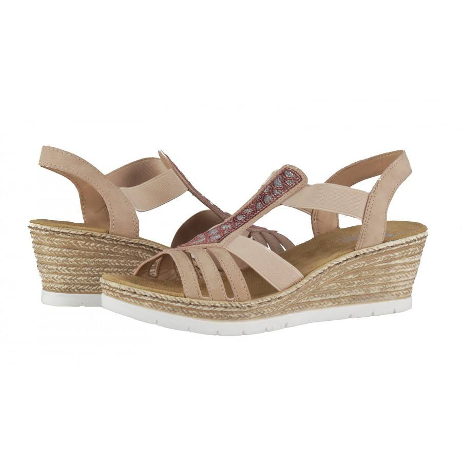 5f9a0494604 Дамски сандали на платформа Rieker 61913-31 розови