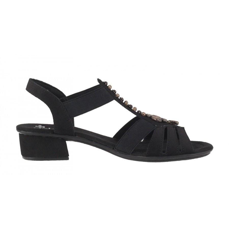 74466b53ae3 ... Дамски сандали на нисък ток Rieker черни V6206-00 ...