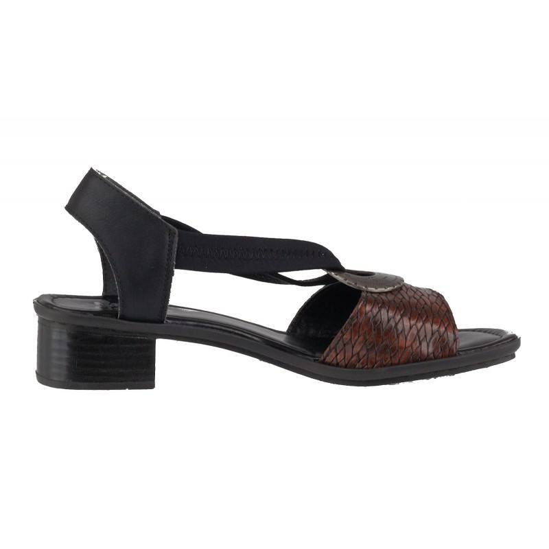 Дамски кожени сандали на ток Rieker черни 62662-25