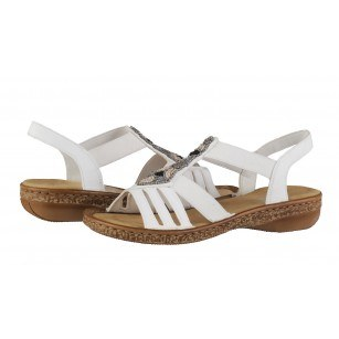 Дамски равни сандали Rieker ANTISTRESS бели 628G5-80