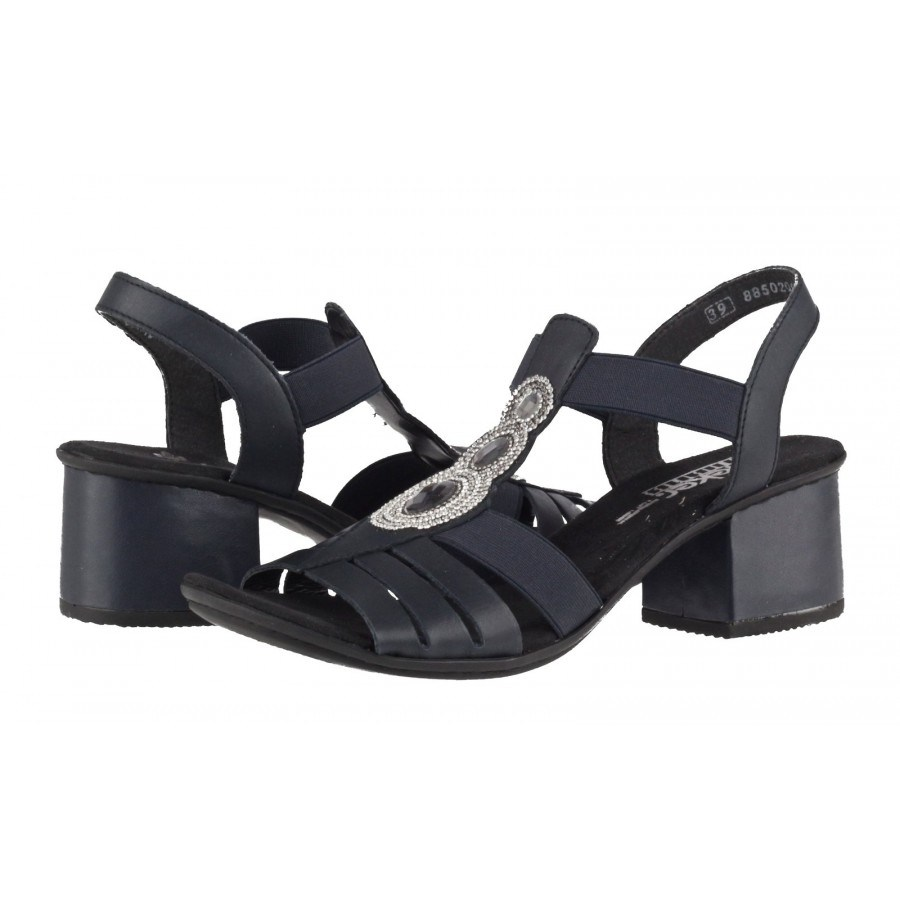 bc44d9bacb1 Дамски сандали на нисък ток Rieker тъмно сини 64660-15