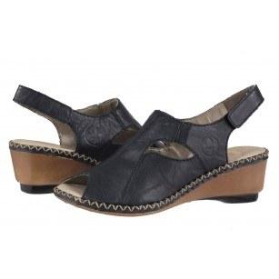 Дамски сандали на платформа Rieker сини 66150-14