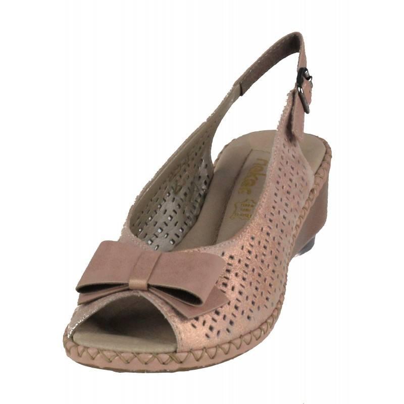 Дамски сандали на платформа от естествена кожа Rieker 66167-31