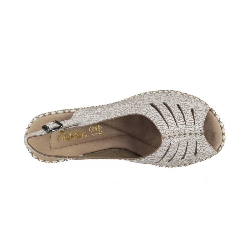 Дамски сандали на платформа от естествена кожа Rieker 66174-80