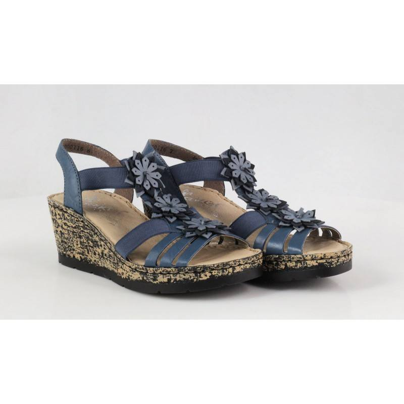 Дамски сандали на платформа Rieker сини V7673-12