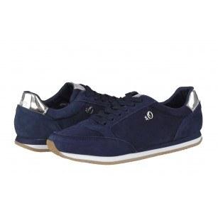Дамски спортни обувки с връзки S.Oliver сини естествена кожа Black Label