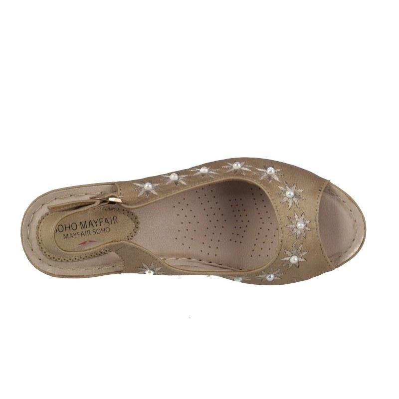 Дамски анатомични сандали на платформа Soho Mayfair бежови