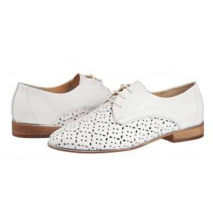 Дамски ежедневни обувки с перфорация Salamander естествена кожа бели