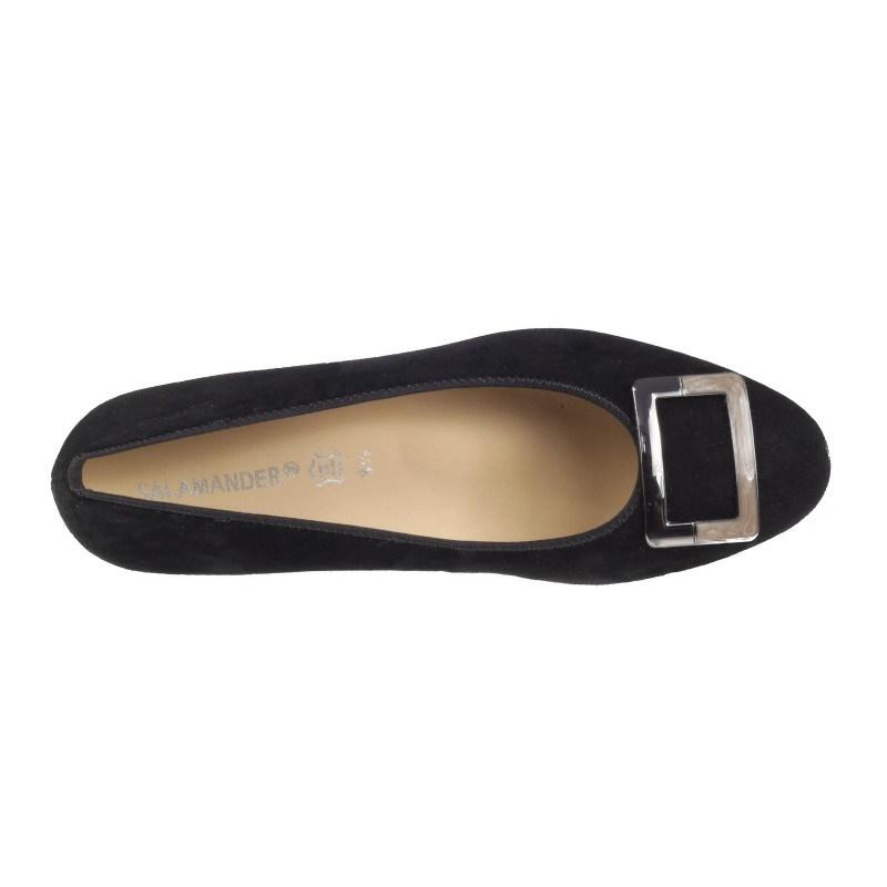 Дамски елегантни обувки на ток Salamander естествен велур черни