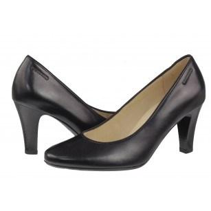 Дамски елегантни обувки на среден ток от естествена кожа Salamander черни
