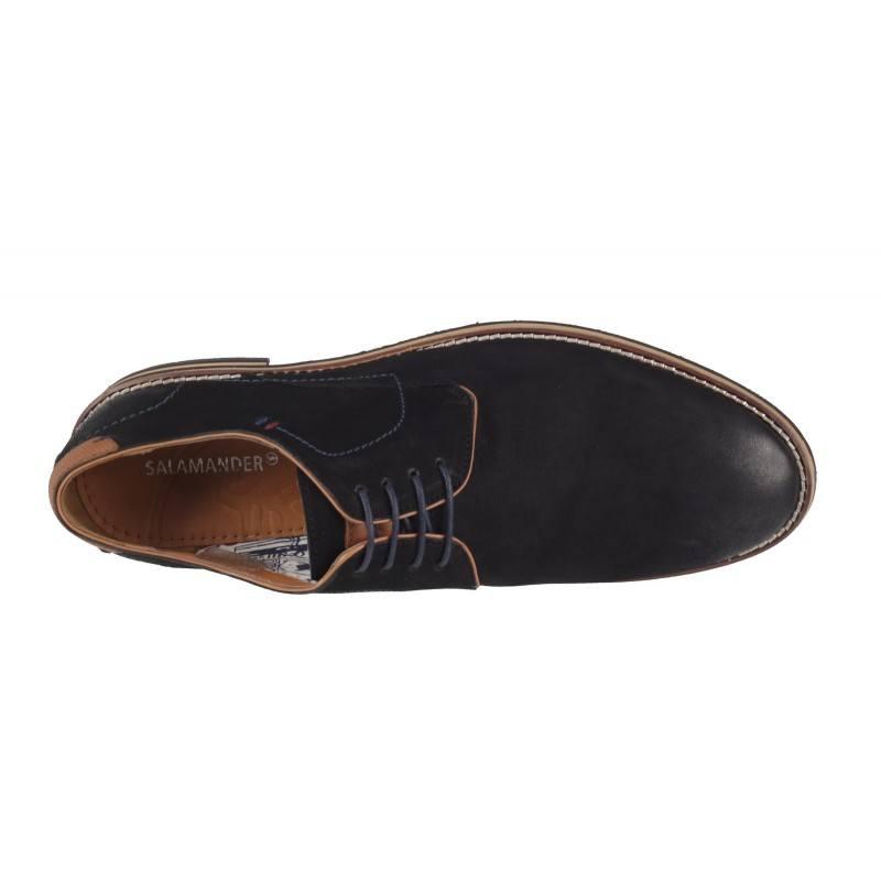 Мъжки елегантни обувки от естествен велур Salamander черни