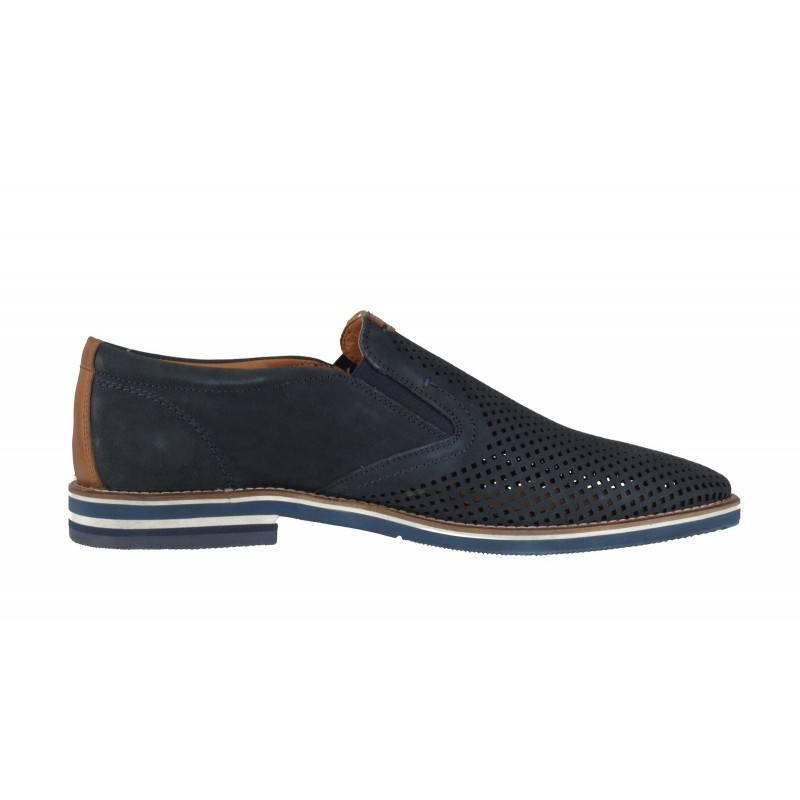 Мъжки пролетно-летни обувки Salamander сини естествена кожа