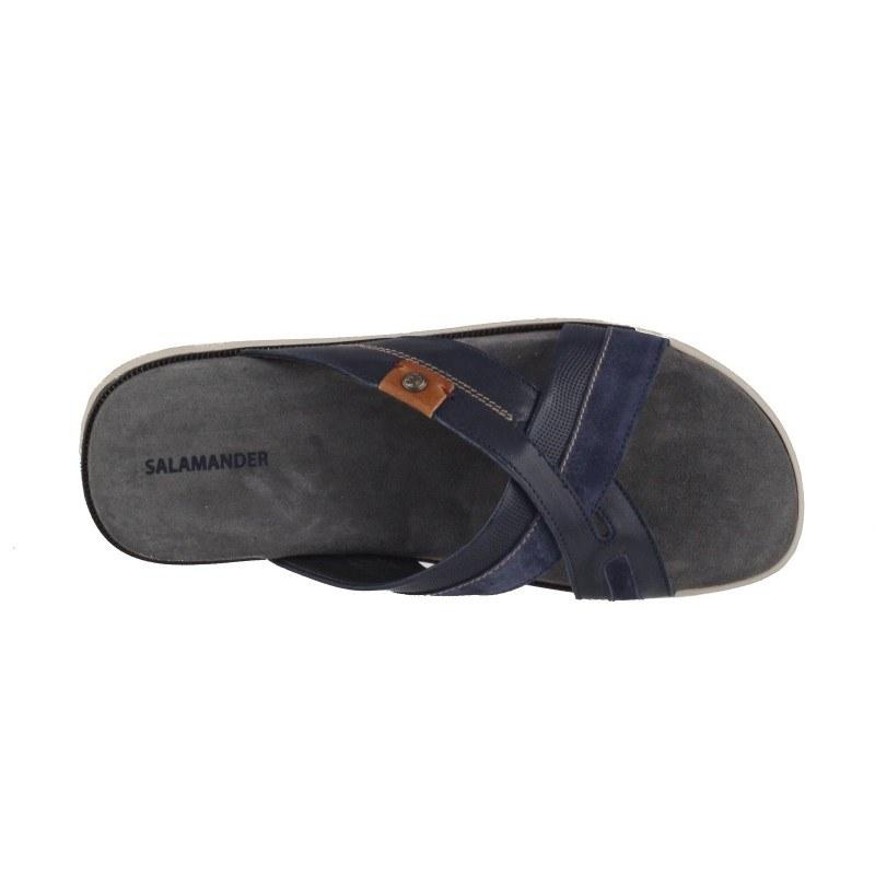 Мъжки анатомични чехли от естествена кожа Salamander сини