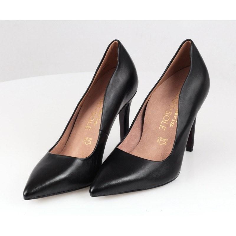 Дамски елегантни обувки на висок ток Tamaris HEART & SOLE естествена кожа черни