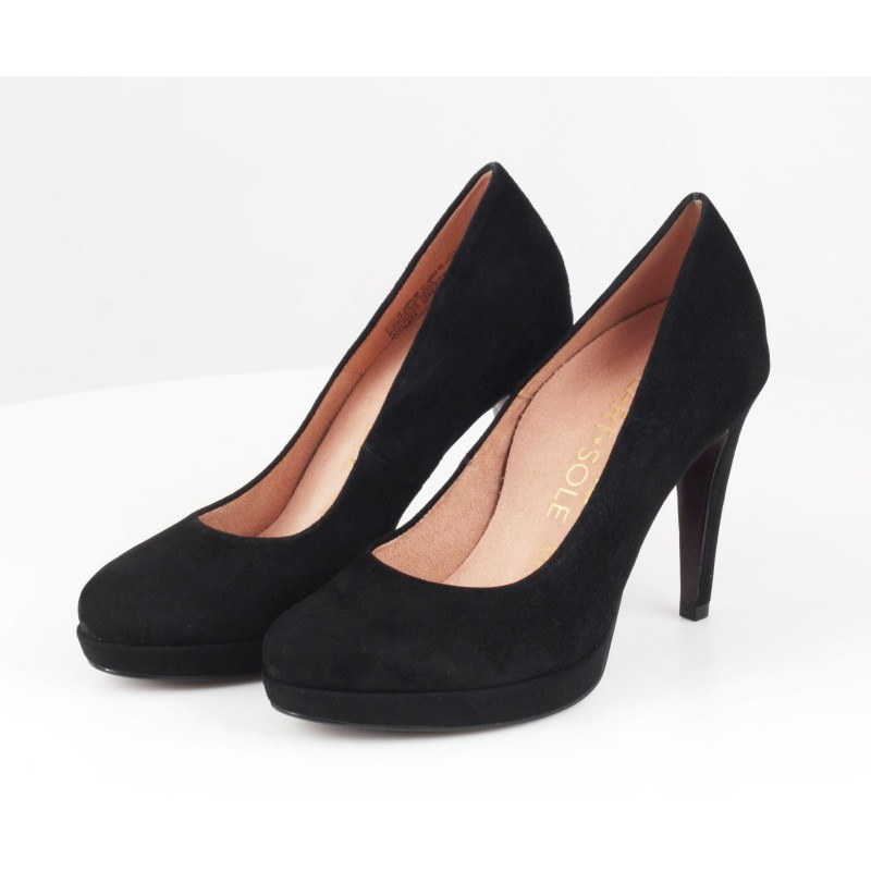 Елегантни дамски обувки на висок ток Tamaris Heart ♥ Sole черни