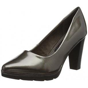 Елегантни лачени дамски обувки на висок ток Tamaris сив лак