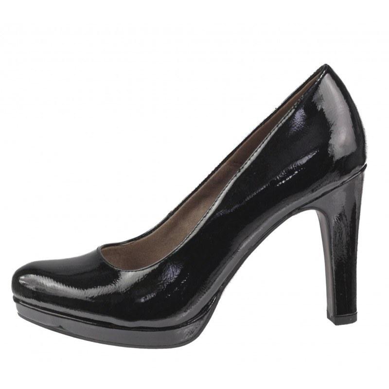 Дамски елегантни обувки на висок ток Tamaris мемори пяна черен лак
