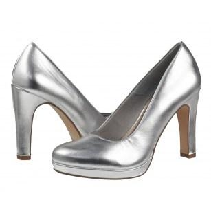 Дамски елегантни обувки на висок ток Tamaris мемори пяна сребристи