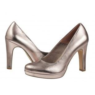 Дамски елегантни обувки на висок ток Tamaris мемори пяна розов металик