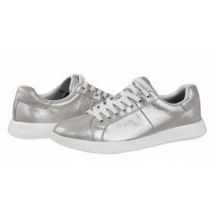 Дамски спортни обувки с връзки Tamaris естествена кожа мемори пяна сребристи