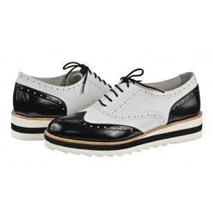 Дамски ежедневни обувки с платформа Tamaris естествена кожа черно/бели