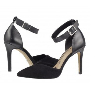 Дамски елегантни обувки на висок ток Tamaris естествена кожа мемори пяна черни