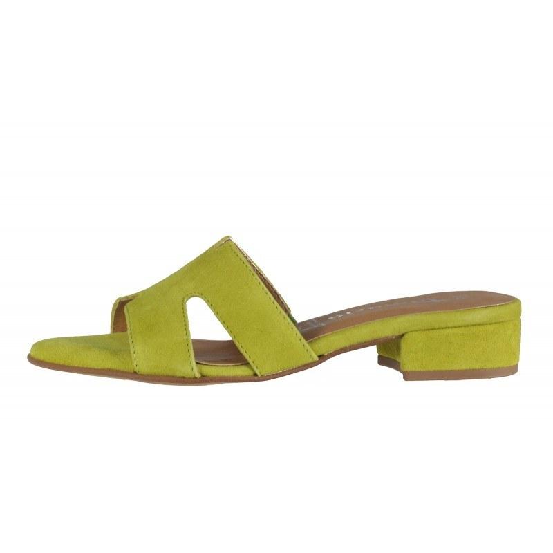 Елегантни дамски чехли на нисък ток Tamaris естествена кожа жълто/зелени