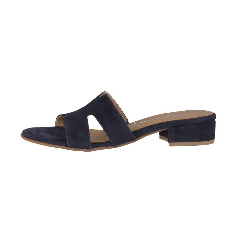 Елегантни дамски чехли на нисък ток Tamaris естествена кожа сини
